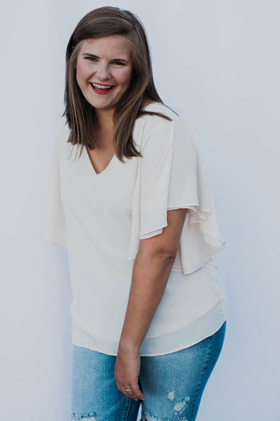 Double Layer Chiffon Top in White (1X-3X)