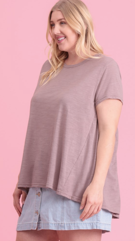 Brianna Short Sleeve Top in Dusty Lavender