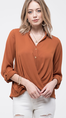 Twist Front Button Down Woven Top in Rust
