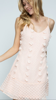 Pom Flare V Neck Tank Dress in Blush