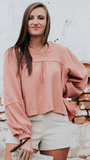 Hattie Puff Sleeve Top in Blush