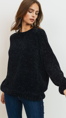 Marilyn Chenille Sweater Top in Black