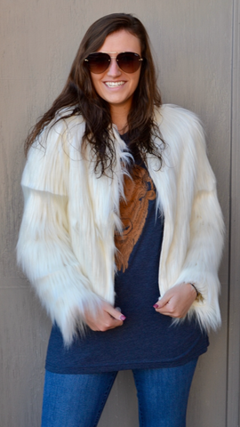 Fuzzy Cream Zip Up Jacket