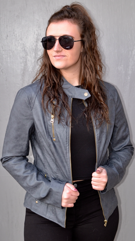 Faux Leather Moto Jacket in Charcoal