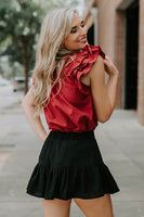 Loren Flutter Top in Burgundy