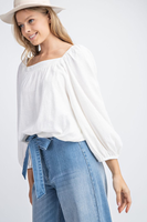So Sweet Square Neck Top in Ivory