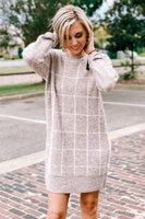 Grid Your Way Sweater Dress