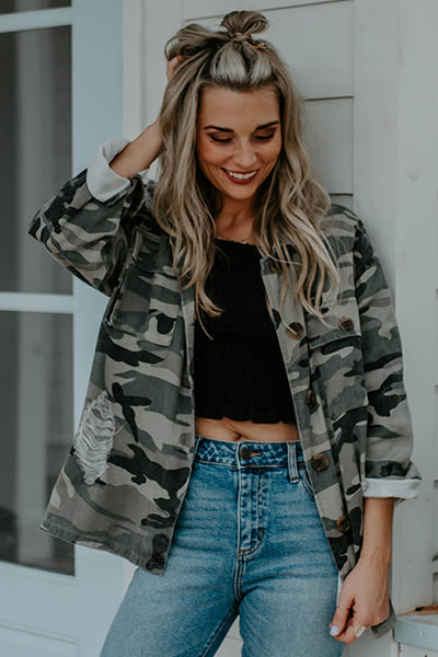 Camo Distressed Button Up Jacket