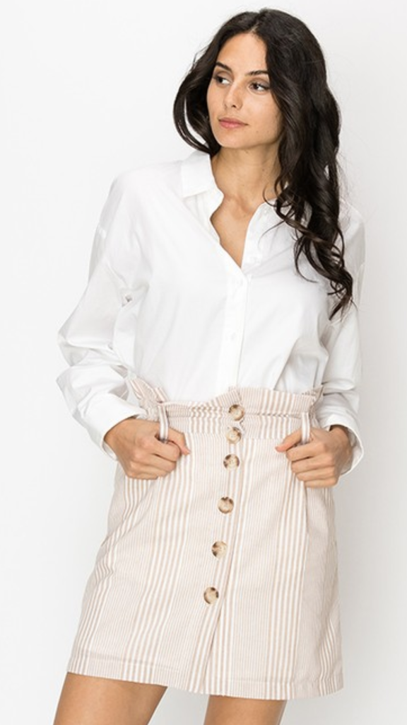Beatrix Button Front Striped Skirt in Taupe