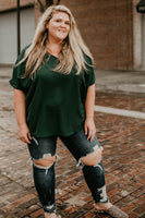 Elissabetta V Neck Top in Hunter Green (1X-3X)