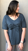 Auburn Tigers Vintage Aubie V-neck Tee in Charcoal by Retro Brand