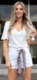 Ruthie V-Neck Blouse in Ivory