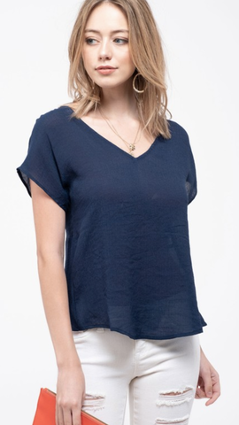 Twist-Back Top in Navy