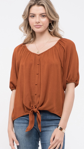 Button-Down Tie-Front Top in Rust