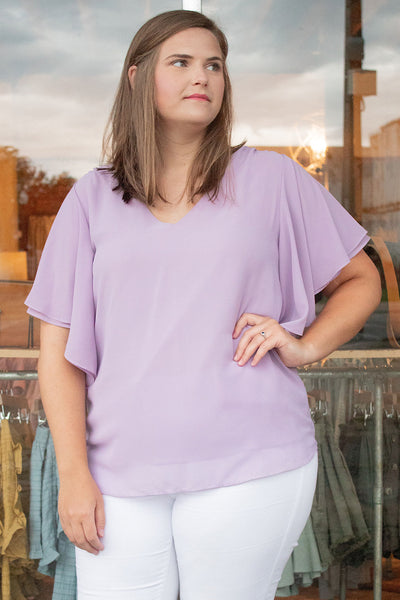 Double Layer Chiffon Top in Lilac (1X-3X)