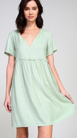 Veronica V-Neck Dress in Mint