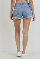 High Rise Button Up Demin Shorts