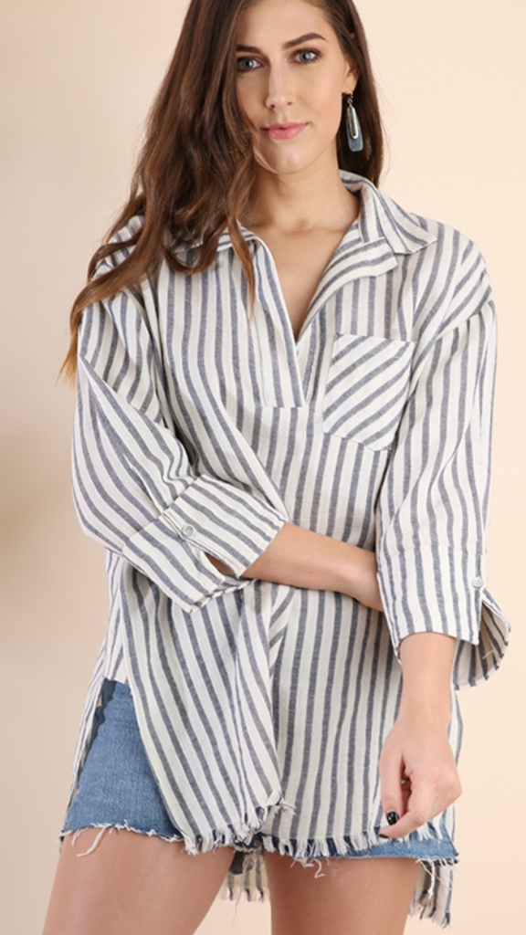 Genevieve Stripes Top in Charcoal