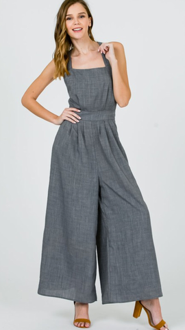 Lola Wide Leg Jumpsuit in Charcoal
