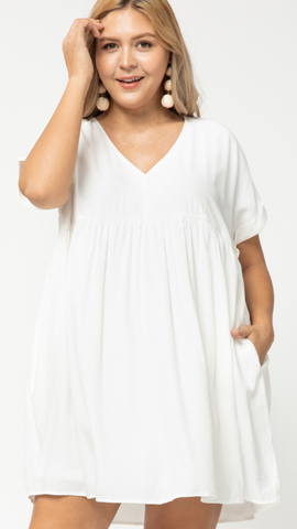 Elinor V Neck Dress in White