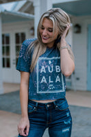 Auburn T Shirt: Reversed Dyed/ Distressed Navy