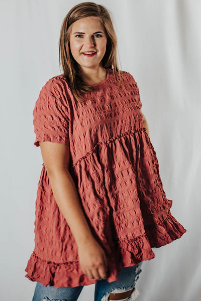 New You Textured Top in Dusty Rose