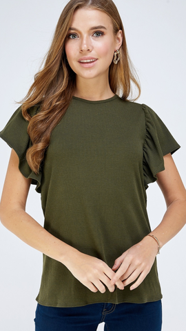 Maya Flutter Sleeve Top in Olive