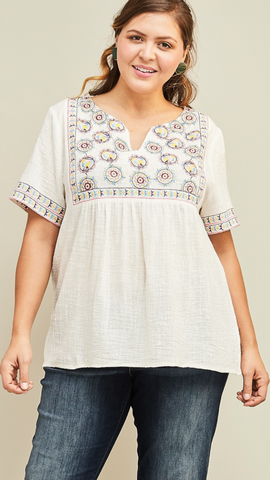 Janet Embroidered Top in Off White (XL-2X)
