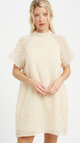 Dot Textured High Neck Dress in Cream