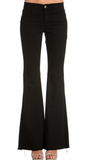 Flares in Solid Black by O2 Denim