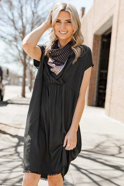 Alivia Smocked Overlay Dress in Charcoal
