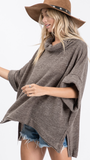Aesha Cowl Neck Sweater in Charcoal (1X-3X)