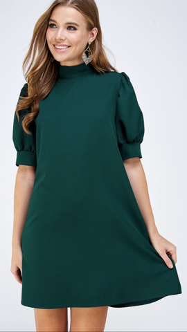 Gina Mock Neck Shift Dress in Hunter Green
