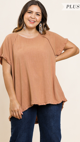 Jilly Short Sleeve Top in Clay (XL-2X)