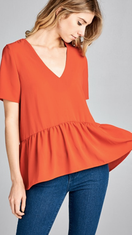 Sophie Peplum Rust Top