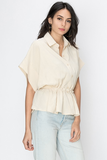 Samara Sand Button Up Top