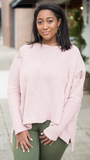 Distressed & Easy Hoodie in Blush