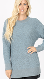 Angelica Popcorn Sweater in Lt Blue (1X-3X)