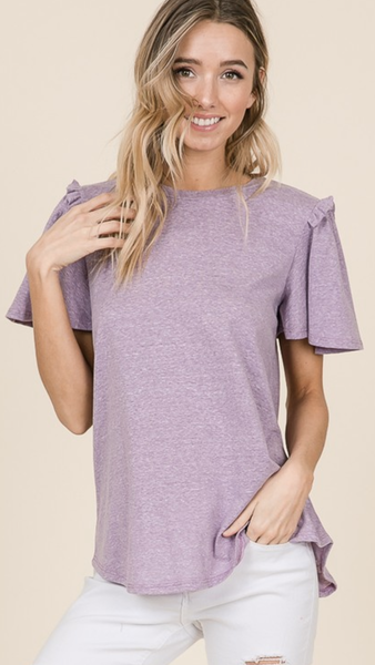 Kaysha Flouce Sleeve Top in Lavender