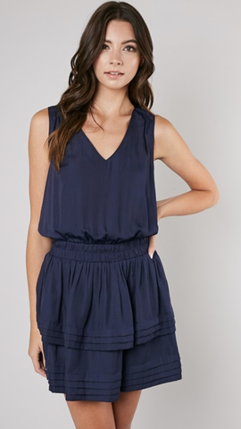 Jenny Layer Bottom V-Neck Dress in Navy