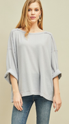 Waverly Waffle Scoop Neck Top in Grey (XL-2X)