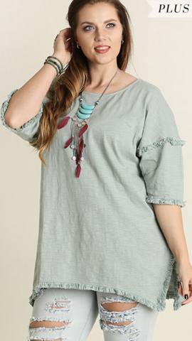 Lucia Fringe Tunic in Dusty Mint (XL-2XL)