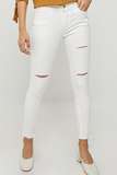 Distressed High-Rise Stone Wash Jeans in White