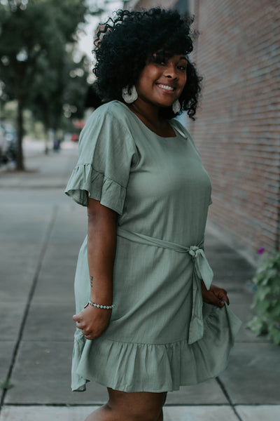 Square Neck Sage Dress
