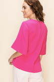 Kyley Flare Sleeve Top in Magenta