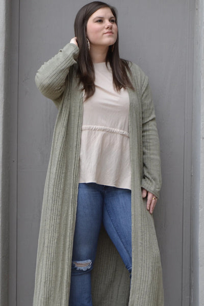 Gemma Ribbed Open Front Long Cardigan in Moss (XL-2XL)