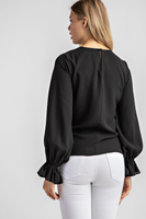 Rosalind Twist Front Top in Black