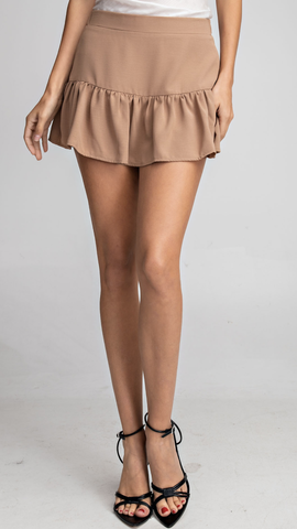 Magnolia Ruffle Skirt in Taupe