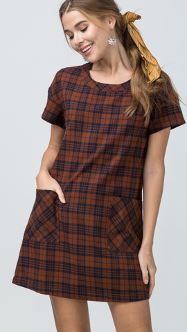 Plaid Scoop Neck Dress