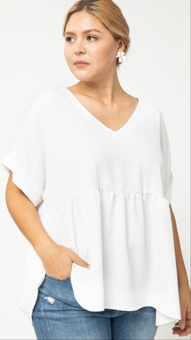 Alice Anne V Neck Top in White
